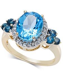 Blue Topaz (3-7/8 ct. t.w.) & Diamond (1/4 ct. t.w.) Ring in 10k Gold