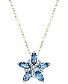 "London Blue Topaz (1 ct. t.w.) & Diamond (1/10 ct. t.w.) 18"" Pendant Necklace in 14k Gold"