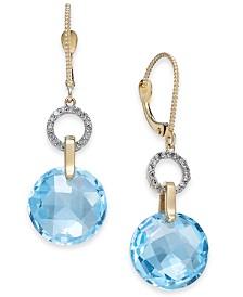 Blue Topaz (14 ct. t.w.) & Diamond (1/6 ct. t.w.) Drop Earrings in 14k Gold