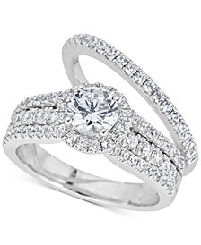 Diamond 3-Pc. Halo Bridal Set (2 ct. t.w.) in 14k White Gold