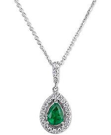 "Sapphire (3/4 ct. t.w.) & Diamond (1/4 ct. t.w.) 18"" Pendant Necklace in 14k White Gold"
