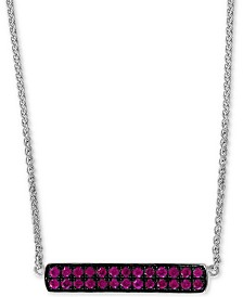 """EFFY® Ruby Cluster Horizontal Bar 18"""" Pendant Necklace (5/8 ct. t.w.) in Sterling Silver"""
