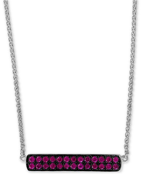 "EFFY Collection EFFY® Ruby Cluster Horizontal Bar 18"" Pendant Necklace (5/8 ct. t.w.) in Sterling Silver"