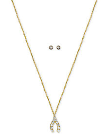 "Kitsch Gold-Tone Crystal Wishbone Pendant Necklace & Stud Earrings Set, 18"" + 1"" extender"