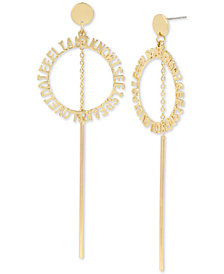 BCBGeneration Gold-Tone Affirmation Circle & Stick Drop Earrings