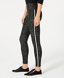 Calvin Klein Performance Printed Metallic-Stripe High-Waist Leggings