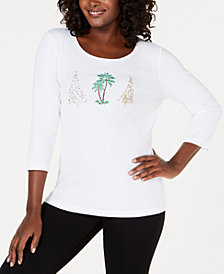 Karen Scott Embellished Holiday-Graphic T-Shirt, Created for Macy's