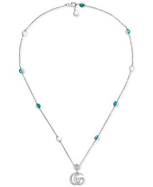 "Gucci Multi-Gemstone Double G Pendant Necklace in Sterling Silver, 15-1/2"" + 1"" extender"