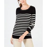 Charter Club Colorblocked Cable-Knit Sweater (Black Stripe Combo/Deep Black Combo)