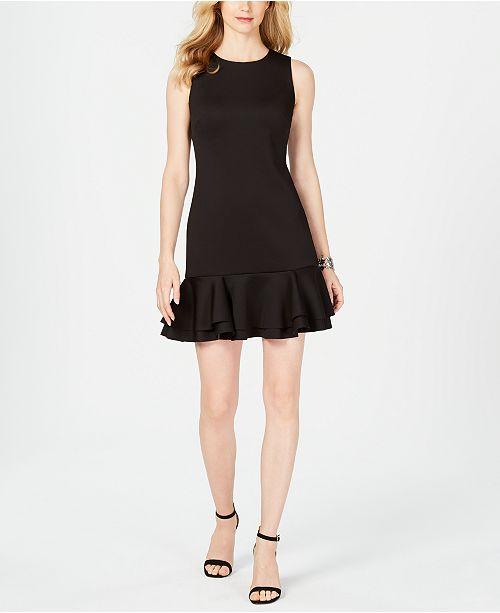 dd6c81d72ca Vince Camuto Sleeveless Ruffled-Hem Shift Dress   Reviews - Dresses ...