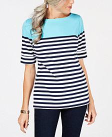 Karen Scott Colorblocked Elbow-Sleeve Top, Created for Macy's