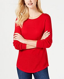 Charter Club Mixed-Knit Pleated-Back Sweater, Created for Macy's