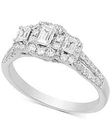 Diamond Emerald-Shape Halo Engagement Ring (1 ct. t.w.) in 14k White Gold