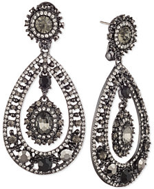 Marchesa Hematite-Tone Stone & Crystal Orbital Drop Earrings