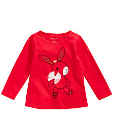 First Impressions Baby Girls Long-Sleeve Cotton Bunny T-Shirt, Created for Macy's