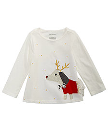 First Impressions Baby Girls Long-Sleeve Cotton Reindeer Dog T-Shirt, Created for Macy's