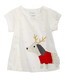 First Impressions Baby Girls Cotton Reindeer Dog T-Shirt, Created for Macy's