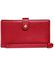 COACH Boxed Phone Wristlet in Polished Pebble Leather