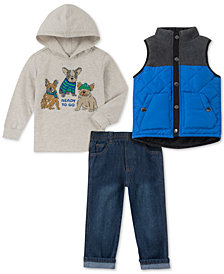 Kids Headquarters Baby Boys 3-Pc. Graphic-Print Hoodie, Vest & Pants Set