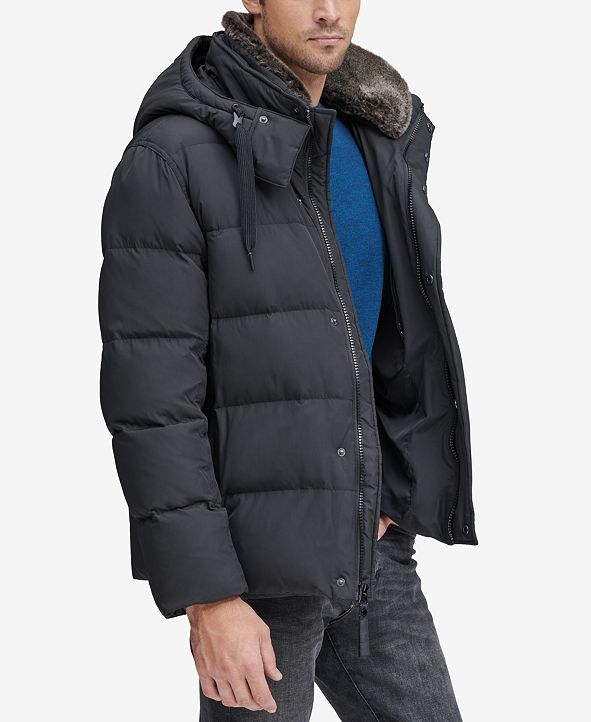 Marc New York Men's Baltic Mid-Length Parka With Removable Faux-Fur Collar