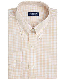Club Room Men's Classic/Regular Fit Performance Mini Gingham Dress Shirt, Created for Macy's