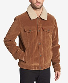 Men's Faux-Suede Trucker Jacket with Fleece Lining