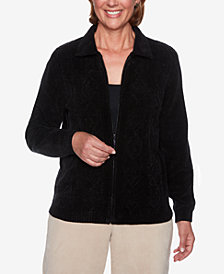 Alfred Dunner Cable-Knit Zippered Sweater