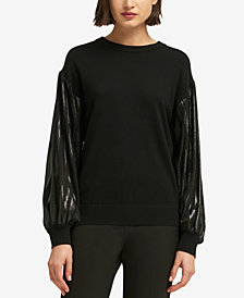 DKNY Metallic-Sleeve Sweater, Created for Macy's