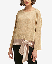 DKNY Contrast Tie-Hem Metallic Sweater, Created for Macy's