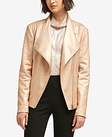 DKNY Metallic Faux-Suede Moto Jacket, Created for Macy's