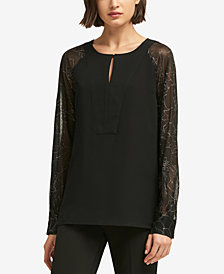 DKNY Sheer-Sleeve Keyhole Top, Created for Macy's