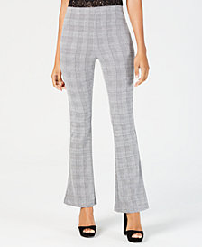 Almost Famous Juniors' Plaid Ponte-Knit Flare-Leg Pants