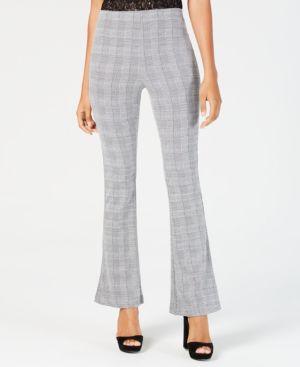 ALMOST FAMOUS Juniors' Plaid Ponte-Knit Flare-Leg Pants in Black/White