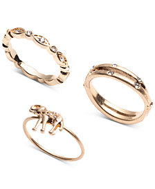 lonna & lilly Gold-Tone 3-Pc. Set Crystal Elephant Stack Rings