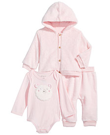 First Impressions Baby Boys & Girls Fleece Hoodie, Lamb Bodysuit & Fleece Jogger Pants, Created for Macy's