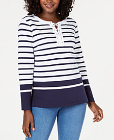 Karen Scott Striped Lace-Up Sweater, Created for Macy's
