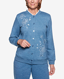 Alfred Dunner At Ease Embroidered Button-Front Jacket