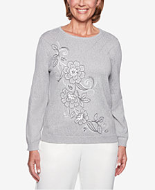 Alfred Dunner Stocking Stuffers Embroidered Crew-Neck Sweater
