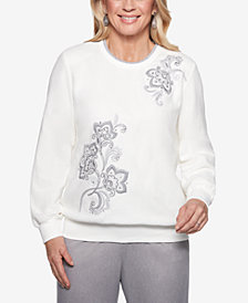 Alfred Dunner Stocking Stuffers Embellished Crew-Neck Top