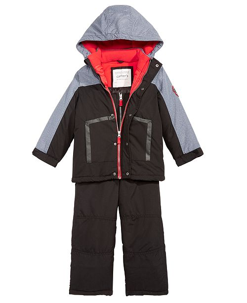 09acf05aa Carter's Toddler Boys 2-Pc. Colorblocked Hooded Jacket & Snow Bib ...