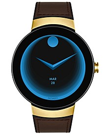 Men's  Connected Black Silicone & Chocolate Leather Strap Smart Watch 46.5mm