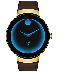 Movado Unisex Swiss Connected Black Silicone & Chocolate Leather Strap Smart Watch 46.5mm