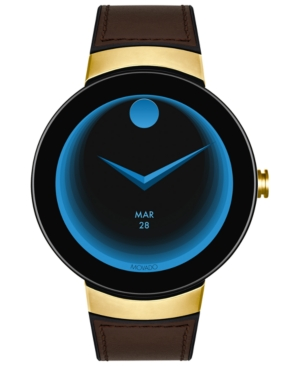 Movado Men's Connected Black Silicone & Chocolate Leather Strap Smart Watch 46.5mm