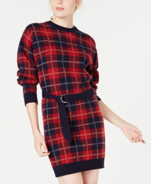 Lacoste Wools WOMEN'S LONG-SLEEVE BELTED PLAID WOOL DRESS