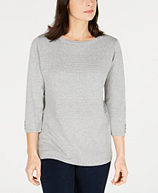Karen Scott Cotton Pointelle Sweater, Created for Macy's