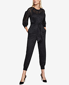 BCBGMAXAZRIA Pleated-Sleeve Lace Jumpsuit