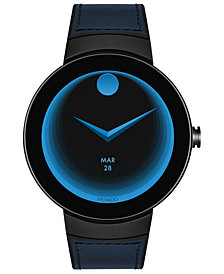 Movado Unisex Swiss Connected Black Silicone & Navy Leather Strap Smart Watch 46.5mm