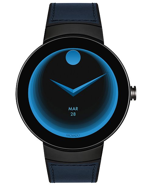 Movado Men's  Connected Black Silicone & Navy Leather Strap Smart Watch 46.5mm