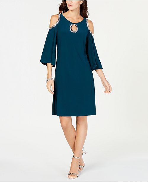 856709243bc5 MSK Embellished Cold-Shoulder Dress & Reviews - Dresses - Women - Macy's