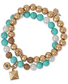 Lucky Brand Gold-Tone 2-Pc. Set Stone & Imitation Pearl Beaded Stretch Bracelets